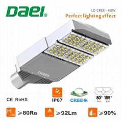 Waterproof 12v led outdoor lighting 60w led street light CREE Meanwell