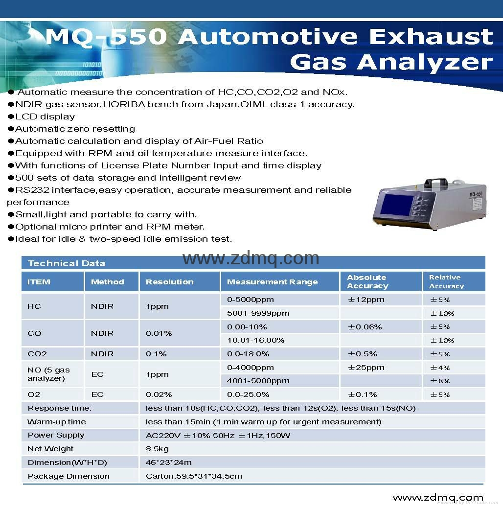 MQ-550 CE Approved Vehicle Emission Testing Equipment