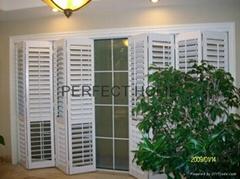 Bi-folding door folding panel plantation shutter white color window shutters