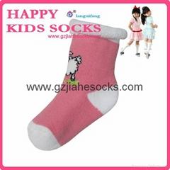 New Design Solid Color Anti-slip Knitting Socks Baby Slipper Socks