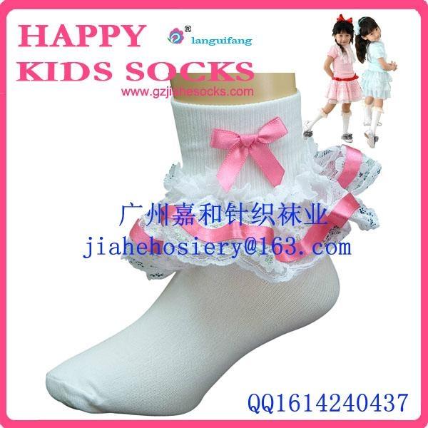 2015年漂亮的純棉兒童花邊襪 1