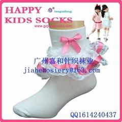 2015年漂亮的纯棉儿童花边袜