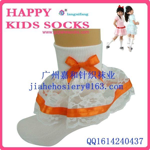 2015年漂亮的純棉兒童花邊襪 2