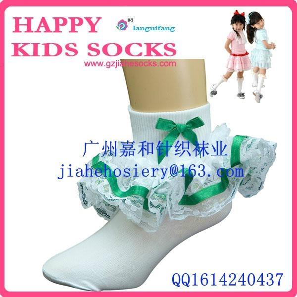 2015年漂亮的純棉兒童花邊襪 3
