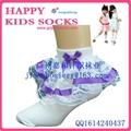 2015年漂亮的純棉兒童花邊襪 4