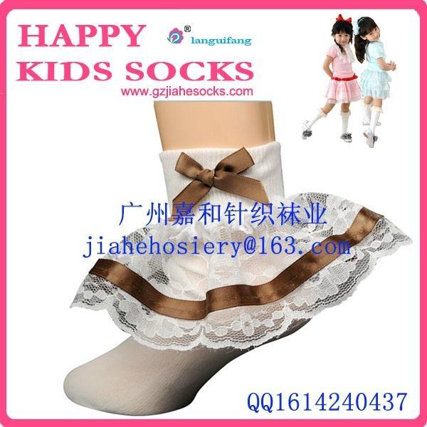 2015年漂亮的純棉兒童花邊襪 5