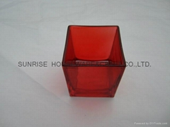 glass square candleholder