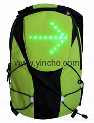 Bike man led light signal bag bicycle backpack