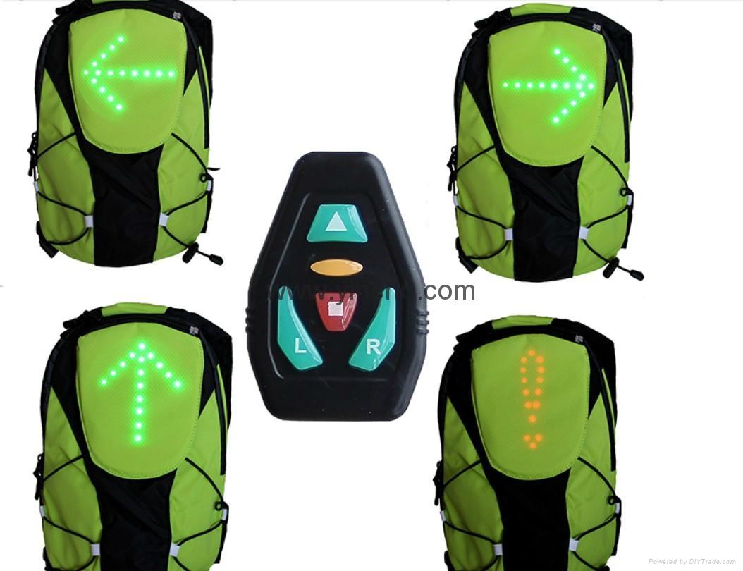 Bike man led light signal bag bicycle backpack  5