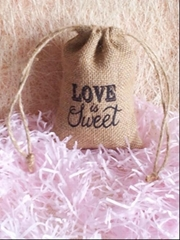 Wedding Jute bag Hessian Burlap pouch Love Is Sweet