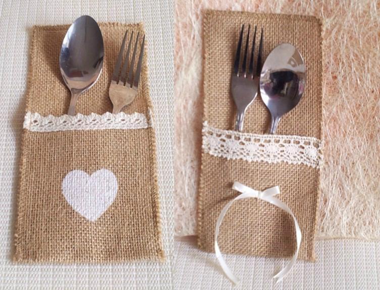 Rustic Wedding Burlap Ribbon Silverware Holder Pocket