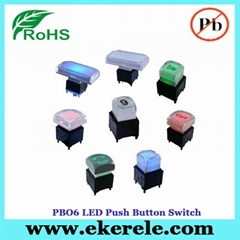 IP65 Protection Level Momentary LED Push Button Switches With LED Light