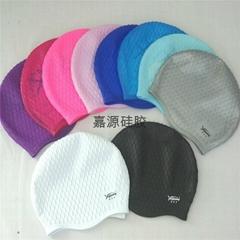 防水護耳高彈力硅膠游泳帽
