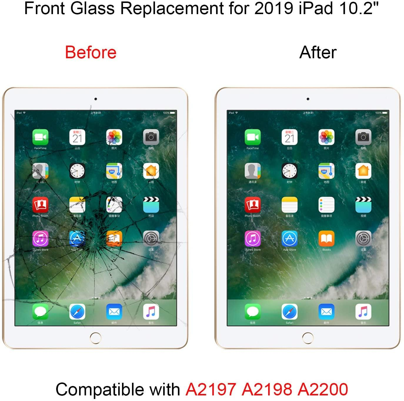 Touch Screen Digitizer Replacement with Adhesive for iPad 7 2019 7th Gen 10.2  5