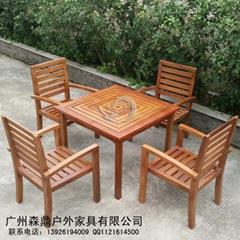 定製高檔戶外實木陽台菠蘿格套椅