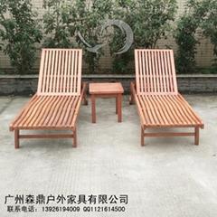 實木防腐休閑折疊陽台游泳池躺椅