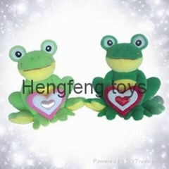 plush and stuffed toys animals valentine green frog with heart