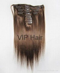 Top Quality  100% Human Remy Hair Blond Straight  Clip-in hair extensions