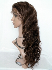 Hot Sale 100% Indian Remy Hair Brown Body Wave Human Hair Full Lace  Wig