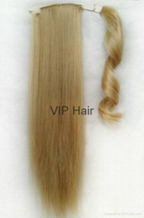 Hot Sale  Heat-Resistance Fiber Synthetic Silky Straight Pony Tail Hair Pieces