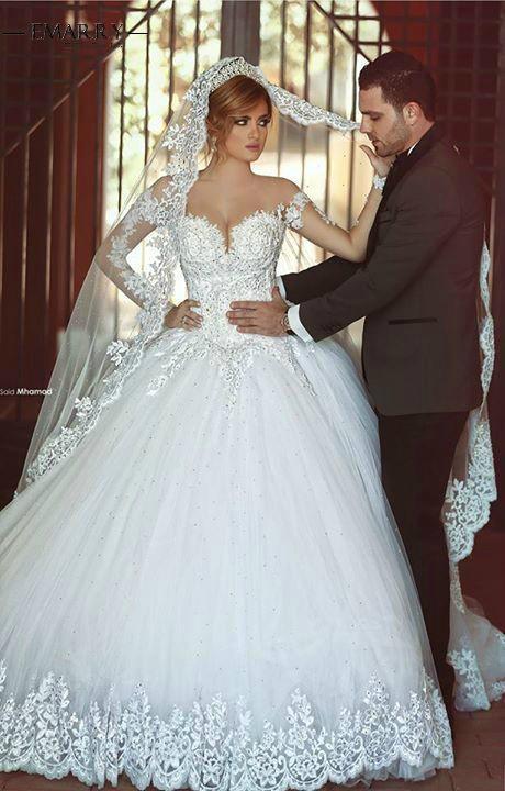 Ball Gown Long Sleeves Wedding Dress  1