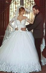 长款蓬蓬长袖婚纱