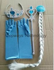 4Pcs/Pack Frozen Elsa and Anna Cosplay Tiara Crown+Wig+Magic Wand+Glove Kits