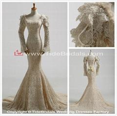 2014 Mermaid Long Sleeves Lace Wedding Gown Bridal Dress (11859)