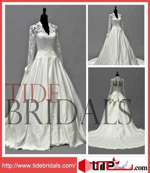 Vintage Elegant Princess Ball Gown Satin Lace Jacket Bridal Dress Wedding Dress  1