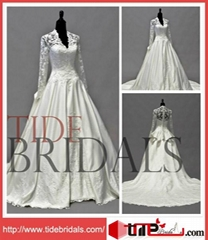 Vintage Elegant Princess Ball Gown Satin Lace Jacket Bridal Dress Wedding Dress
