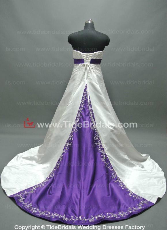 Popular Satin Bridal Gown Embroidery Plus Size Wedding Dress (ZJH301) 2