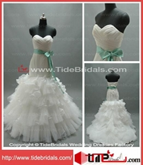 High Quality Mermaid Sweetheart Strapless Organza Wedding Dress (LT5749)