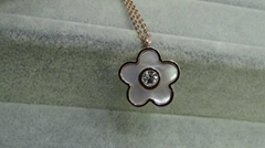 Fashion steel jewelry -Zircon with Nature Sea Shell Plum Flower Necklace