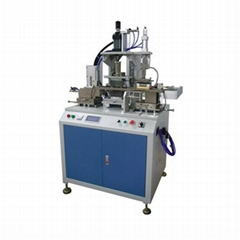 Plastic card tipping and embossing machine