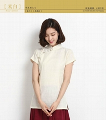 2014夏季新款棉麻女裝茶館服裝旗袍