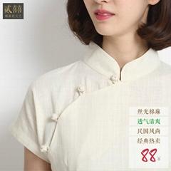 二喜茶服中國風禪衣茶服改良唐裝茶館工裝中式棉麻漢服廠家直供