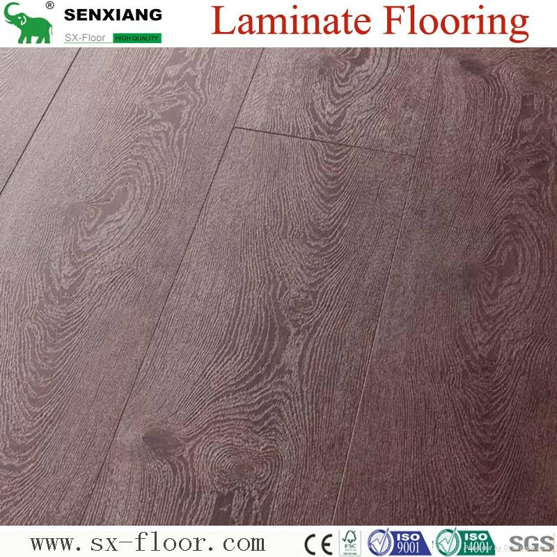 Global Popular Fashion Hardwood V-groove Design Laminated Laminate Flooring 1