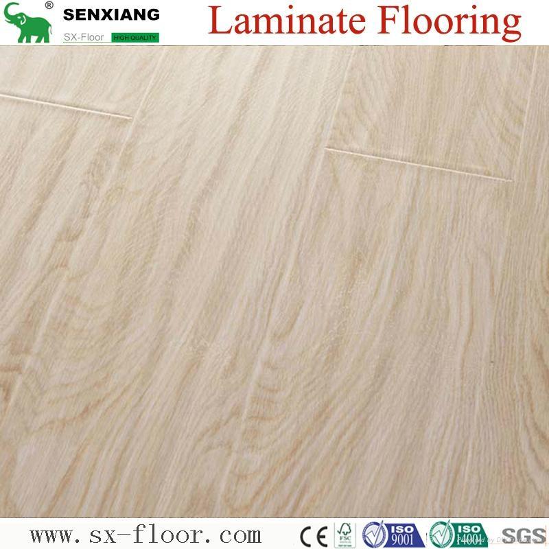12mm Hdf Concave & Convex Surface Smooth Handscraped Laminate Flooring 4
