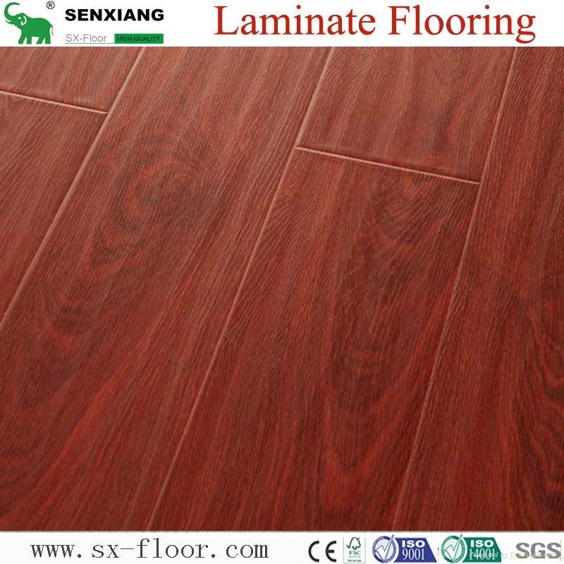 12mm Hdf Concave & Convex Surface Smooth Handscraped Laminate Flooring 5