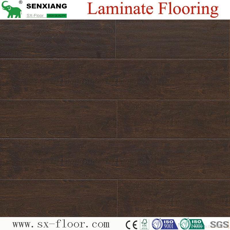 8mm Wenge Pattern Crystal Surface Laminated Wooden Laminate Flooring 1