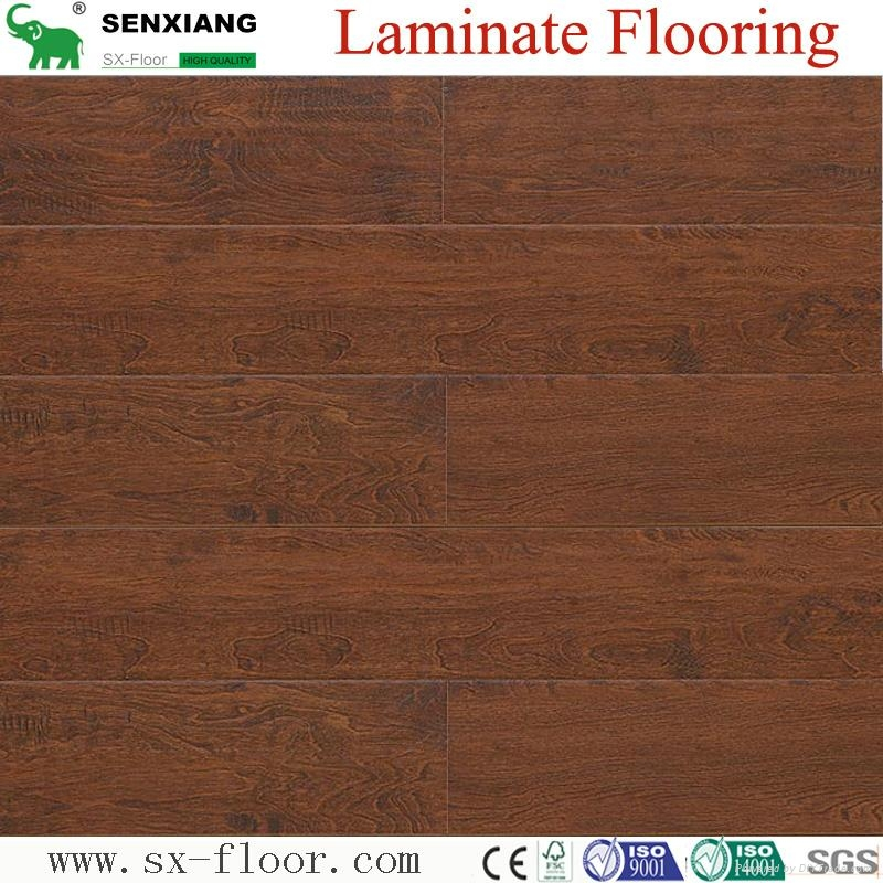 8mm Wenge Pattern Crystal Surface Laminated Wooden Laminate Flooring 2