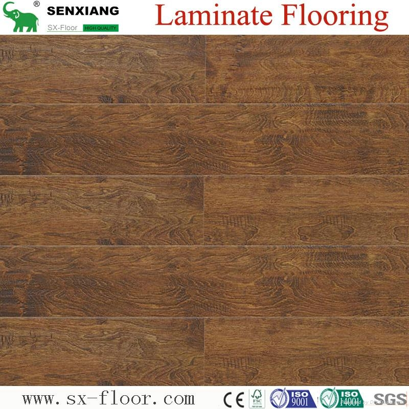 8mm Wenge Pattern Crystal Surface Laminated Wooden Laminate Flooring 4