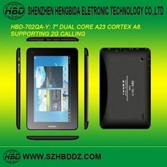 HBD-702QA-Y 7 寸雙核2G通話平板