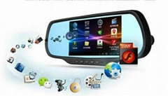 Android 4.0.3 Capactive Multi-Touch Screen car Rearview Mirror 5 Inch HD GPS Na