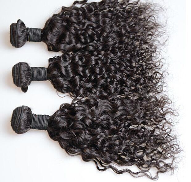 factory price 7A black color brazilian water wave, remy hair ,human hair curtain 2