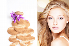 7A quality blond hair N27 color brazilian virgin remy hairbody wave hair curtain