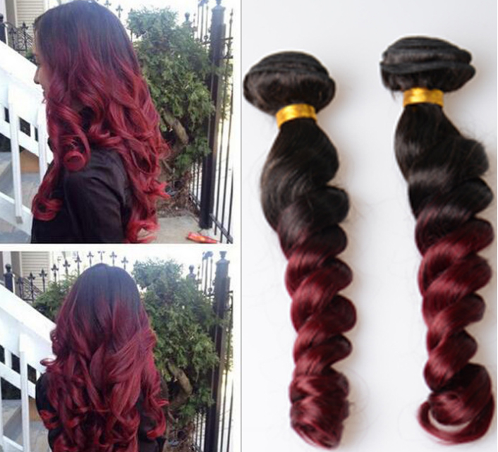 wholesale  wine red loose wave color body wave human hair best price 1