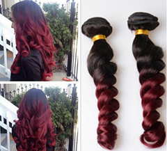 wholesale  wine red loose wave color body wave human hair best price