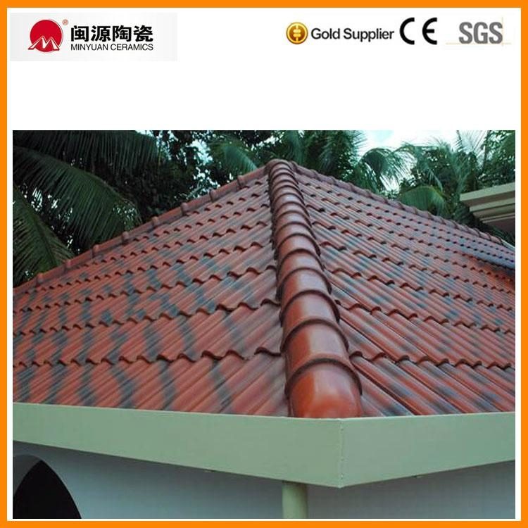 Double Color Red With Black Shade Ceramic Roof Tile For India 4034