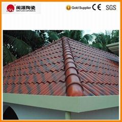 Double color red with black shade ceramic roof tile for india